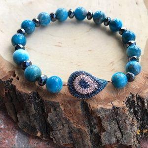 Rose gold plated cz eye hemimorphite bead bracelet